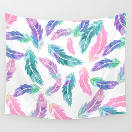 Pastel pink turquoise hand painted watercolor feathers pattern Wall Tapestry