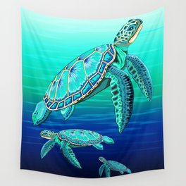 Sea Turtle Turquoise Oceanlife Wall Tapestry