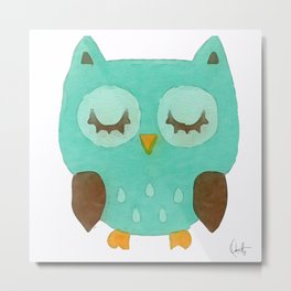 Sleepy Owly Metal Print