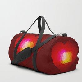 Red geometric burning heart Duffle Bag