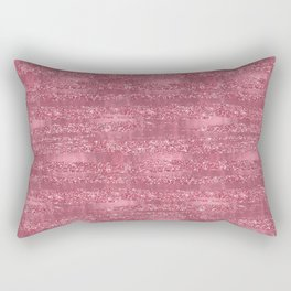 Pink Faux Glitter Foil Stripes Rectangular Pillow