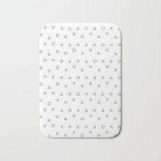 gaming pattern - gamer design - playstation controller symbols Bath Mat