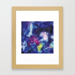 Galaxy Watercolor Framed Art Print