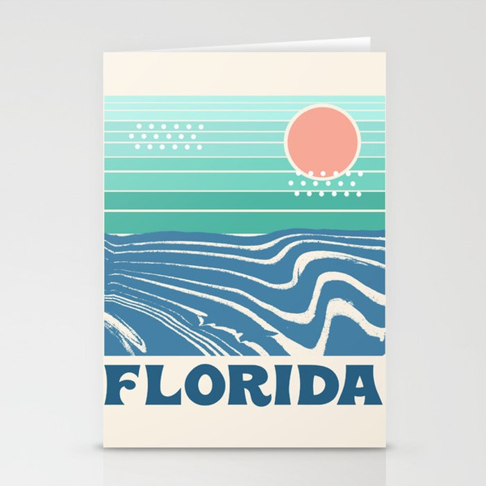 florida retro travel poster 70s throwback minimal ocean surfing