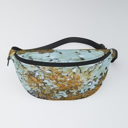 Orange and green moss in tree bark Fanny Pack