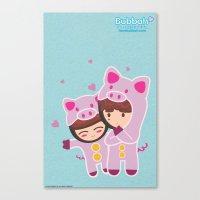 suits Canvas Prints featuring Piggy-Suits by I love Bubbah