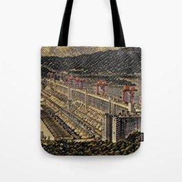 China Three Gorges Dam Artistic Illustration Snake Style Tote Bag