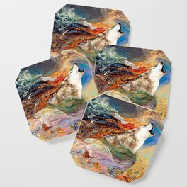 The spirit Wolf Abstract Coaster