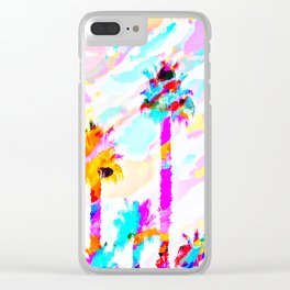 palm tree with colorful painting texture abstract background in pink blue yellow red Clear iPhone Case