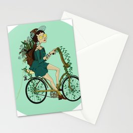 Girl with bicycle Pegas Stationery Cards