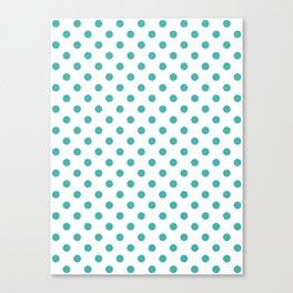 Small Polka Dots - Verdigris on White Canvas Print
