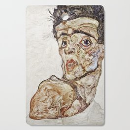 Egon Schiele - Self Portrait With Raised Bare Shoulder Cutting Board