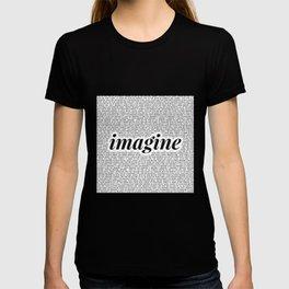 imagine - Ariana - imagination - lyrics - white black T-shirt