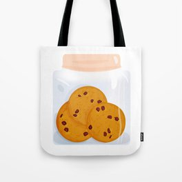 Chocolate chip cookie, homemade biscuit in glass jar Tote Bag