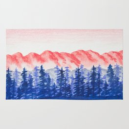 Navy and Coral Mountains Rug