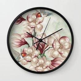 Magnolia Hummingbirds Wall Clock