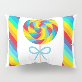 candy lollipop with bow, colorful spiral candy cane Pillow Sham