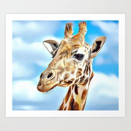'Hello' Giraffe Airbrush Artwork Art Print