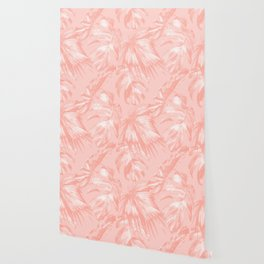 Tropical Palm Leaves on Pastel Pink Wallpaper