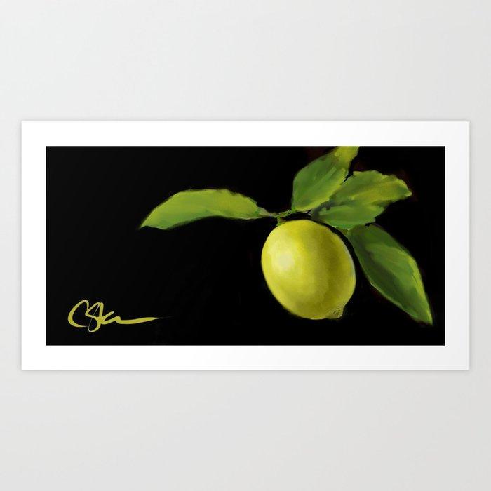 Lemon on Black DP150415a Kunstdrucke