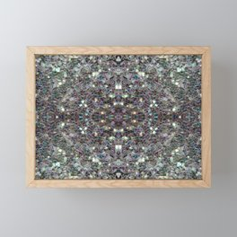 Sparkly colourful silver mosaic mandala Framed Mini Art Print