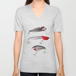 Red and Silver Fishing Lures Unisex V-Neck