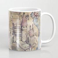 hogwarts Mugs featuring Hogwarts Map by Sarah Ridings