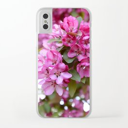 Deep pink blossom Clear iPhone Case
