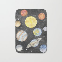Watercolor Planets Bath Mat