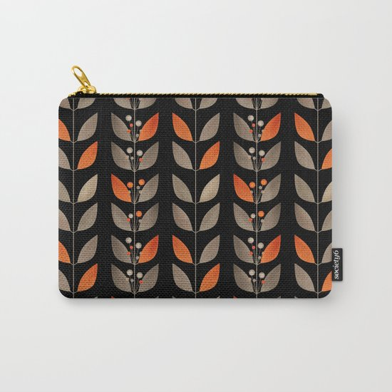 Retro . Berry sprigs on a black background . Carry-All Pouch
