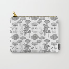Mushrooms - black and white, illustration, kitchen, vintage, botanical, garden, ink, hand-draw Carry-All Pouch