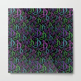 Vibrant Neon Musical Notes Random Pattern Metal Print