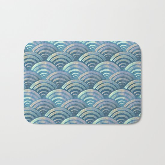 Colorful fish scales pattern Bath Mat
