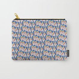 'Pray' Trendy Rainbow Text Pattern (Blue) Carry-All Pouch