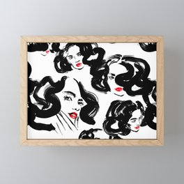 A pattern of glamorous girls with wavy hair - in black and red colors Framed Mini Art Print