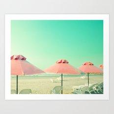 Mint Retro Beach Art Print