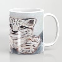 snow leopard Mugs featuring Snow Leopard by RakMeowww
