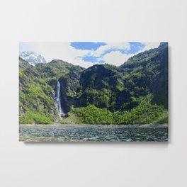 Waterfall on lake Metal Print