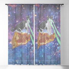 Galaxy Laser Beam Eyes Cat on Pizza Sheer Curtain