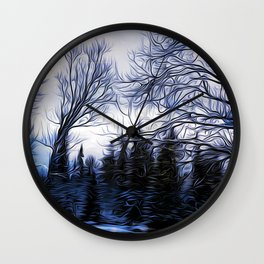 Winter Trees In Sweden Wall Clock