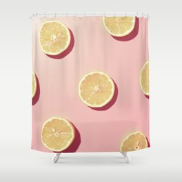 #02_Lemons in pink Shower Curtain