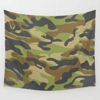 military Wall Tapestries featuring Green Military Camouflage Pattern by SW Creation