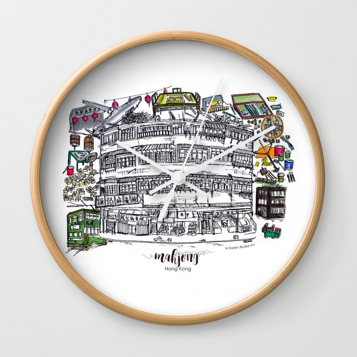Mahjong In Hong Kong Wall Clock By Karenaruba Society6