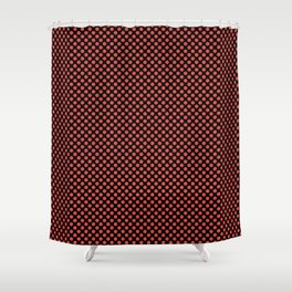 Black and Grenadine Polka Dots Shower Curtain