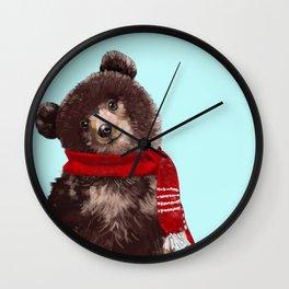 Baby bear in Christmas Mood Wall Clock