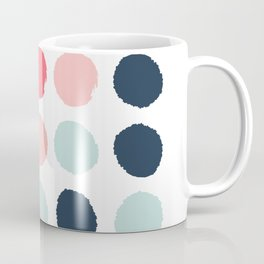 Dots painted coral mint navy pink pattern dotted polka dot minimalist Coffee Mug
