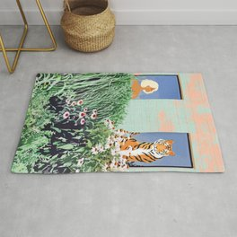 Love Thy Neighbor, Bohemian Brown  Blonde Woman Tiger Quirky Eclectic Tropical Architecture Rug