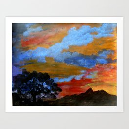 Sunset Scenery Painting Art Print