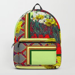 DECORATIVE RED-GOLD WHITE DAFFODIL GARDEN  ART Backpack
