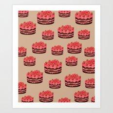 Strawberry Chocolate Cake Art Print